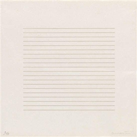 Artwork by Agnes Martin, On a Clear Day, Made of cream wove Japan paper