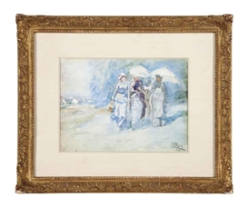 Artwork by Jan Toorop, Elegant ladies walking on the beach, Made of pencil, watercolor and gouache on paper
