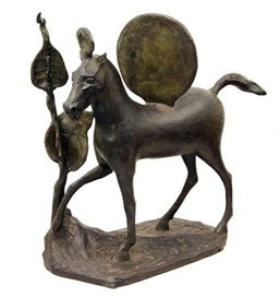 Artwork by Barry Flanagan, Cheval à deux disques, Made of bronze