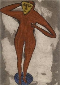 Artwork by Erwin Bohatsch, Red Figure, Made of mixed media on paper laid on board