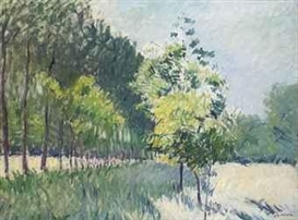 Artwork by Gustave Caillebotte, Allée bordée d'arbres, Made of oil on canvas