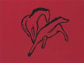 Artwork by Franz Marc, Zwei Pferdchen (Almanach-Vignette), Made of pen and India ink on red paper
