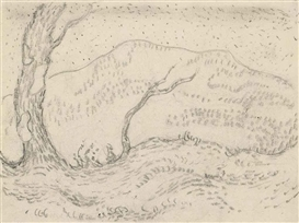 Artwork by Franz Marc, Landschaft, pointillistisch, Made of pencil on paper