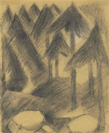 Artwork by Franz Marc, Bergtannen, Made of pencil and chalk on paper