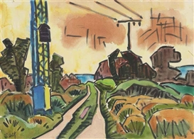 Artwork by Karl Schmidt-Rottluff, Landschaft mit Hochspannungsmasten, Made of watercolour and brush and India ink