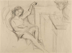 Artwork by Balthus, La Séance de pose, Made of pencil on paper