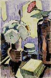 Artwork by Karl Schmidt-Rottluff, Still life with bottle and flowers, Made of Coloured chalk over India ink on paper