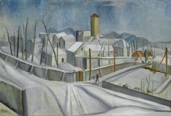 Artwork by Max Gubler, Winter landscape Burghölzli (recto) & At the inn (verso), Made of Oil on canvas
