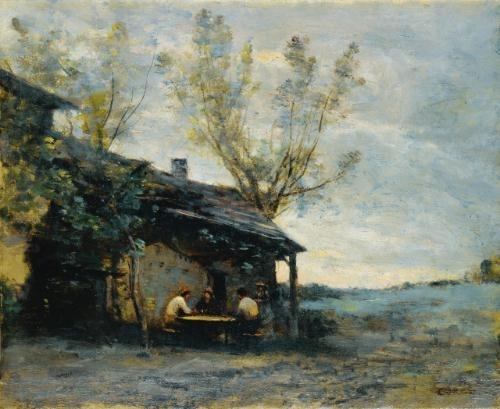 Artwork by Jean Baptiste Camille Corot, Une guingette a vaugirard, Made of Oil on canvas