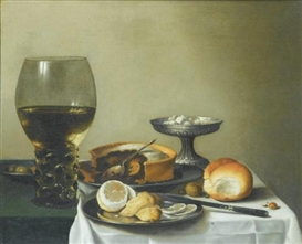 Artwork by Pieter Claesz, Nature morte au verre de vin, tourte et citron sur un entablement, Made of Oil on canvas