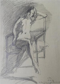 Georg Eisler, Seated female nude