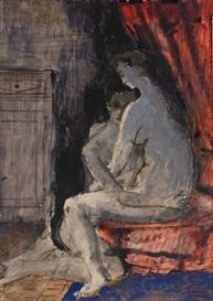 Paul delvaux le couple 1944 gouache pen and for Paul delvaux le miroir