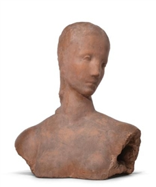 Artwork by Wilhelm Lehmbruck, KOPF DER SCHREITENDEN, MÄDCHENKOPF SICH WENDEND (PENSIVE GIRL, GIRL WITH TURNED HEAD), Made of terracotta