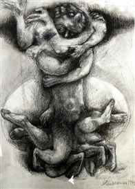 Artwork by Andrea Kasamas, Austrian Untitled, Made of Charcoal & pastel