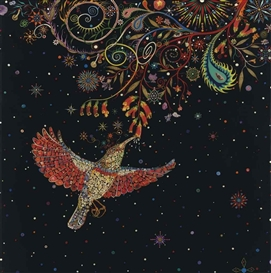 Artwork by Fred Tomaselli, Study for Hummingbird, Made of Photo collage, acrylic and resin on wood panel