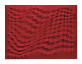Artwork by Enrico Castellani, Superficie rossa, Made of Acrylic on shaped canvas