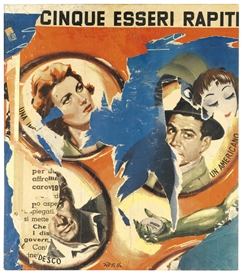 Artwork by Mimmo Rotella, CINQUE ESSERI RAPITI, Made of Decollage on canvas