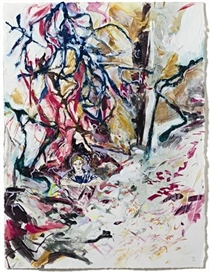 Artwork by Hernan Bas, The Lashing of the Hail, Made of mixed media on paper