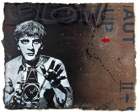 Artwork by Jef Aerosol, Blow Up, Made of Spraypaint on cardboard