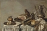 Pieter Claesz, A ham on a pewter platter, a pealed lemon and a roll on pewter platters, a tankard, a roemer and a goblet, on a partly-draped table