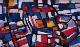 Artwork by Jean René Bazaine, FIGURE ET PAYSAGE, Made of Oil on canvas