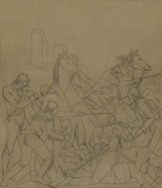 "Frank Albert Mechau, Study for the Left Panel of the ""Battle of the Alamo."""