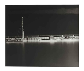 Artwork by Vera Lutter, Harbour Lake Konstanz, Friedrichschafen, August 1999, Made of gelatin silver print