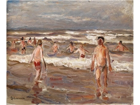 Artwork by Max Liebermann, Bathing boys in the sea, Made of Oil on cardboard