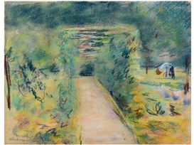 Artwork by Max Liebermann, Wannseegarten, 1919, Made of pastel on buff drawing paper