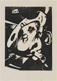 Artwork by Franz Marc, Der Stier [The Bull], Made of woodcut, on thin laid paper