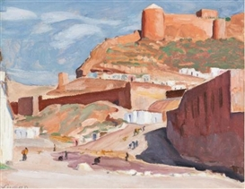 Artwork by John Goodwin Lyman, THE ALCAZABA, ALMERIA SPAIN, Made of Oil on panel