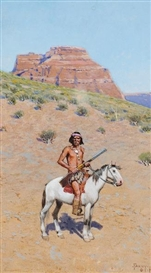 Artwork by Henry Francis Farny, Apache Warrior, Made of gouache on paper