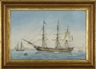 Edward Russell, Portrait of an American full-rigged ship at anchor in a European port