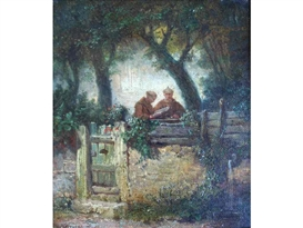 Artwork by Carl Spitzweg, TWO MONKS IN A GARDEN, Made of oil on canvas