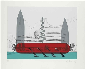 Claes Oldenburg, Knife Ship Superimposed on the Solomon R. Guggenheim Museum (A. & P. 195)
