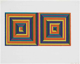 Artwork by Frank Stella, Fortín de las Flores (First Version), from Ten from Leo Castelli (Axsom I.B.), Made of screenprint in colors with hand-coloring