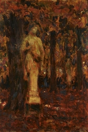 Artwork by Henri Eugène Augustin le Sidaner, La statue de Versailles, Made of Oil on panel