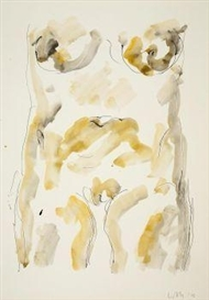 Artwork by Wilhelm Loth, Untitled (torso of female nude), Made of Watercolour and India ink on vellum