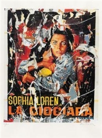 Artwork by Mimmo Rotella, Sophia Loren - La Ciociara, Made of Decollage colour serigraph on Arches France