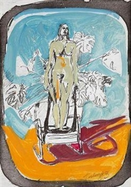 Artwork by Norbert Tadeusz, Untitled (standing female nude on a chair), Made of Gouache and pencil over a lithograph on vellum