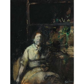 Gregory Gillespie, Untitled, Seated Figure