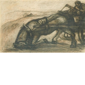 Artwork by Eugene Higgins, 2 works:Ploughing the Fields and Travelers, Made of charcoal on paper