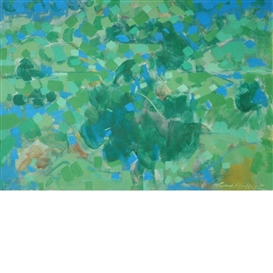 Artwork by Carl Robert Holty, Blue and Green Landscape, Made of Oil on canvas