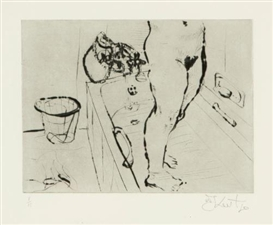 Artwork by William Kentridge, GETTING OUT OF THE BATH, Made of softground etching
