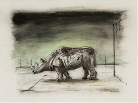 Artwork by William Kentridge, RHINO, Made of charcoal on paper