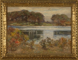 Artwork by Edmund Henry Garret, House on the Centerville River, Made of Oil on artist board
