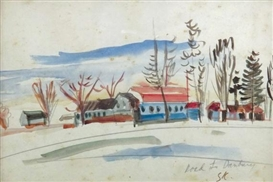 Artwork by Sudjana Kerton, Road to Danbury, Made of watercolour on paper