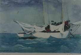 Artwork by Winslow Homer, Hauling Anchor at Key West, 1903, Made of coloured print