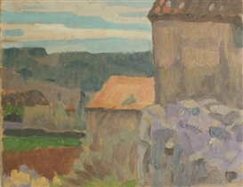 Artwork by William John Leech, Farm House near Grasse, Made of oil on board