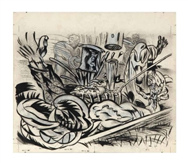 Artwork by Gary Panter, Driving a Stake, Made of charcoal, pencil, ink and gouache on paper